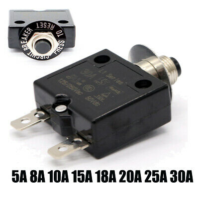 Manual Reset Push Button Switch 125/250V AC 50V DC Thermal Circuit Breaker 5-30A