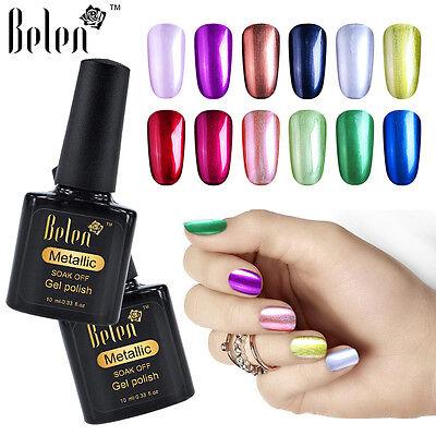 Belen Soak-Off Metallic Gel Nail Polish UV LED Metal Gel Base Top Salon