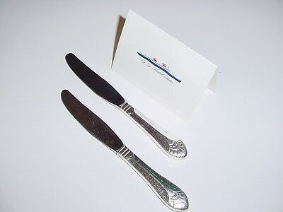 SS UNITED STATES LINES  (2) Silver Butter Knives  /  Top Condition