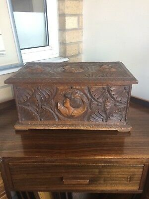 Heavily Carved Vintage Fruitwood French Box with Fitted Interior