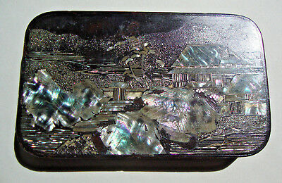 Early 20th century Japanese black lacquered tin box mother of pearl decoration