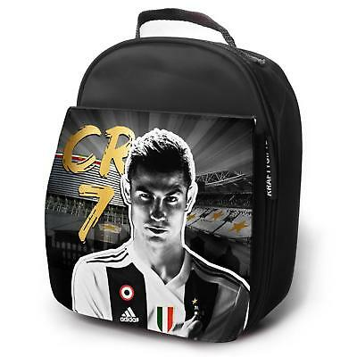 RONALDO Juve Lunch Bag Football Insulated Boys Childrens School - Black