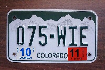 2011 Colorado Mountain Motorcycle License Plate # 075 - WIE