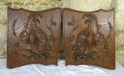 Pair French Antique Hand Carved Oak Wood Panel Louis XV Style Roses Wall Plaque