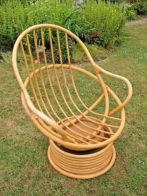 Marvelous Old Vintage Retro Bamboo Cane Swivel Rocker Egg Chair Pabps2019 Chair Design Images Pabps2019Com