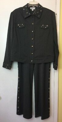 ST. JOHN SPORT by Marie Gray Pant Suit Jacket Size L Pants 12 Embellished