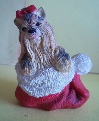 """Yorkshire Terrier Dog Tucked into Red Stocking Christmas Figure - 2.5"""" Tall"""