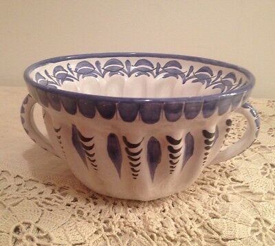 Ceramic Jello Mold Blue White Made In Austria Hand-Painted In Old World Style!