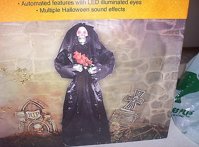 """CVS Spooky Village 5 feet 3"""" Skeleton Bride-Glowing Red Eyes-Mouth Moves-Phrases"""