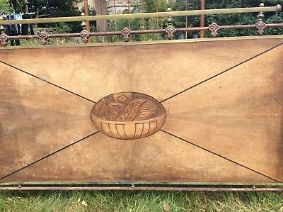 original vintage cast iron and wood french small double bed frame