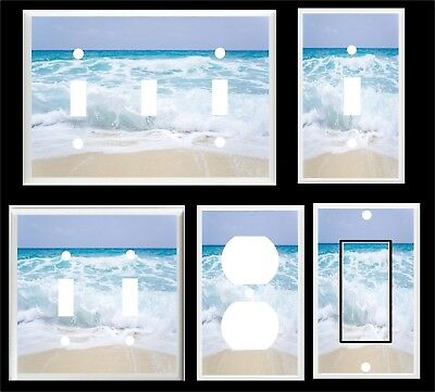 Ocean Waves White Capes  Beach Light Switch Cover Plate     U Pick Plate Size