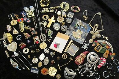 Great Lot of Vintage Jewelry Religous Medals & MORE!