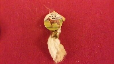 Vintage Hills Of Kentucky Souvenir Pinback Button With Ribbon & Rabbits Foot