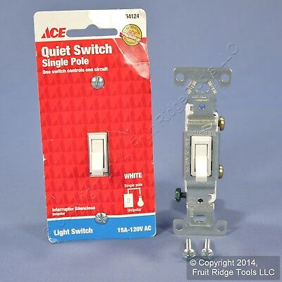 2 Ace White Single Pole Quiet Toggle Wall Light Switch Controls 15A 120V 34124