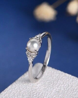 Elegant Pearl Rings White/Rose Gold Filled CZ Fashion Engagement Wedding Jewelry