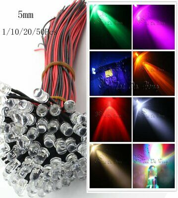 5mm 12V DC Prewired Emitting Diode Pre Wired 20cm LED Bulbs Light Diffused/Clear