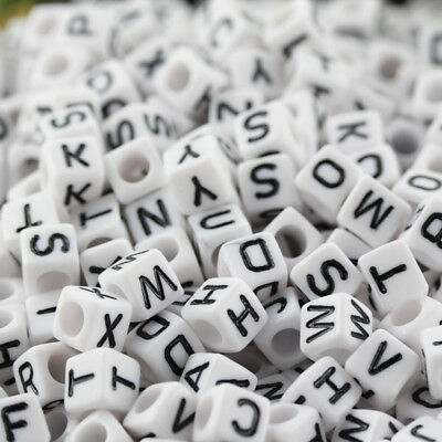 "100Pcs White Square Alphabet Letter ""A-Z"" Acrylic Cube Plastic Charms Beads 6MM"