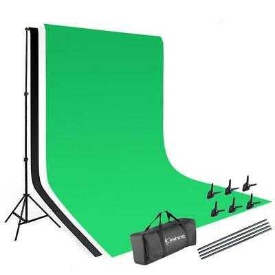 Green Screen Chroma Key with Black + White Backdrop Stand Kit Background Set