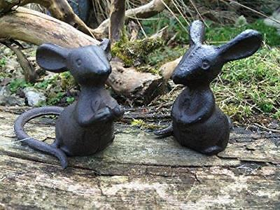 Pair of Cast Iron Mice Ornaments - Garden Yard Figurines -  Mouse Sculpture