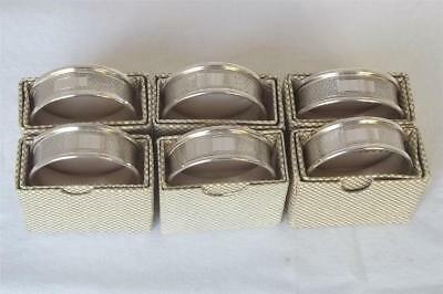 A Superb Set Of Six Solid Sterling Silver Individually Boxed Napkin Rings.