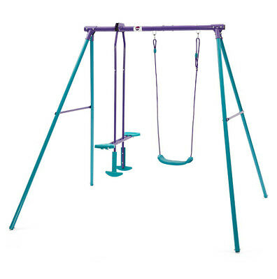 Plum Outdoor Metal Swing & Glide Set With  2 Seat Glider For Age 3+