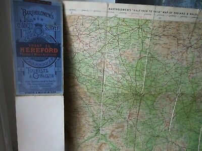 Hereford,Gloucester,Severn:old Map 1911-24:Bartholomew & Ctc-Topographic Colour