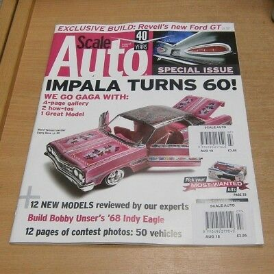 Scale Auto magazine AUG 2018 Impala turns 60, Revell Ford GT, Contest Photos &