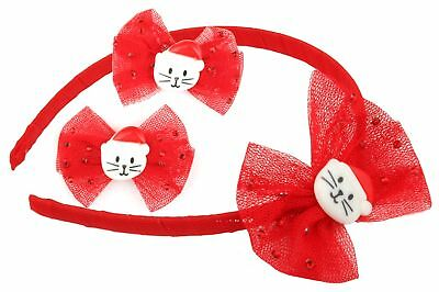 Zest Alice Band & Slide Set with Mesh Bow and Santa Cat Hair Accessory Red