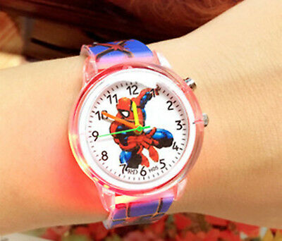 Boy Kid Children Spiderman Superhero Led Light Rubber Watch Birthday Gift Him
