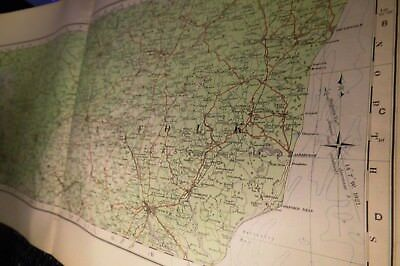 Huntingdon-Cambridge-Suffolk: Rare1922 Map:elongated Os Series-Topographiccolour