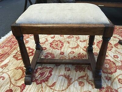 Antique 19th Century Wooden Victorian Oak Floral Upholstered Stool