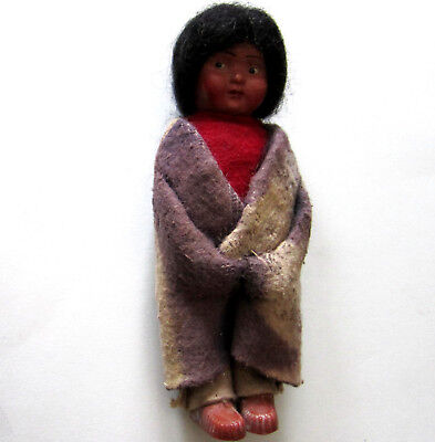 Beautiful Vintage Skookum Indian Doll Bully Good 6 1/4 In Great Blanket & Face