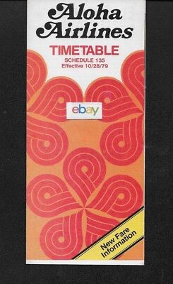 Aloha Airlines System Timetable 10/28/79 737 Jets Sheraton Molokai Ad-Route Map