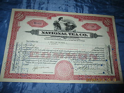 Wertpapier / Aktie  USA  1933 : NATIONAL TEA  Company , historisch / Dokument /I