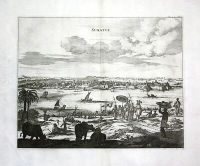 1730 - Surat Gujarat India Indien - Kupferstich / engraving map Karte