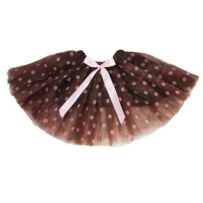 Little Girls Brown Pink Polka Dots Satin Elastic Waist Ballet Tutu Skirt 2-8Y
