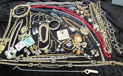 Great Lot of Vintage Jewelry Rhinestones Signed MORE!