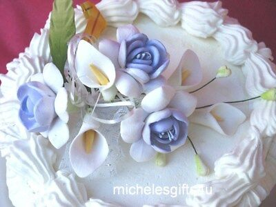 Gum Paste Sugar Lavender White Roses Calla Lilies Cake Decorating Flowers