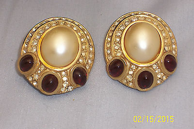 Beautiful Huge Signed Ciner Clear Rhinestone Faux Pearl Red Cabochone Earrings
