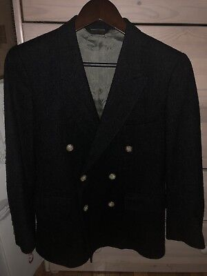 Mens Saks Fifth Avenue Tweed Charcoal Double Breasted Blazer Size 34s