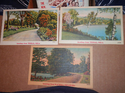 Terral Ok - Waurika Ok - 3 Linen Postcards - Greetings