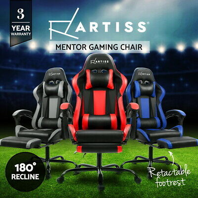 Gaming Chair Office Computer Seating Racing PU Leather Executive Racer Footrest