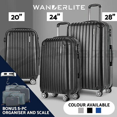 Wanderlite 3pc Luggage Suitcase Trolley Set TSA with Scale & Organiser 3 Colours