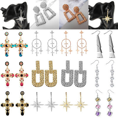 Fashion Punk Dangle Geometric Big Drop Earrings Cross Earrings For Women Jewelry