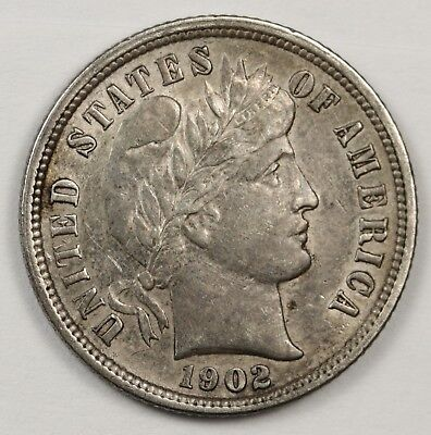 1902-s Barber Dime.  Uncleaned Natural A.U.  125704