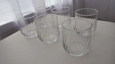 Set of 6 clear glass small round tumbler drink-ware glasses not used but stored