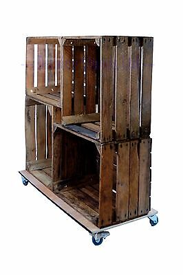 Rustic Finish Freestanding 4-Crate Shelving Display on Castors (CR8S3)