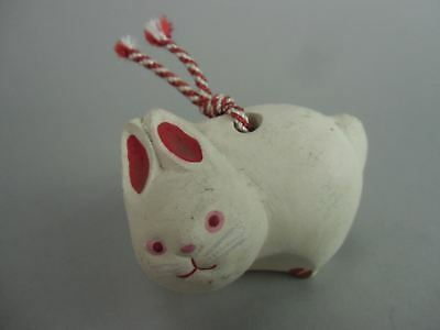DR146 Japanese Dorei Clay Bell Pottery Rabbit White Ceramic Handmade Yakimono