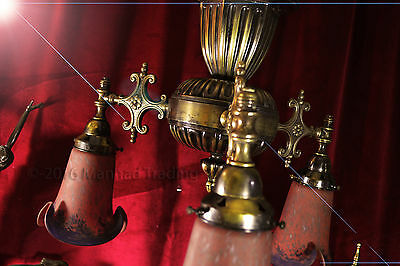 Rare French Empire Italian Bronze chandelier Art de France Pate De Verre shades