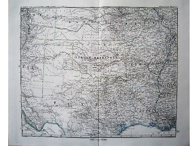 Kansas Louisiana Texas Missouri Arkansas Oklahoma Amerika Landkarten 1876